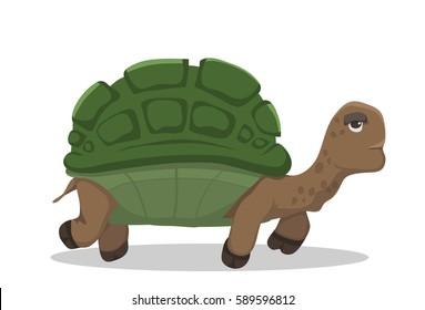 Vector cartoon tortoise walking forward slow