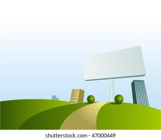 Vector cartoon town background with billboard