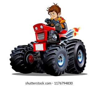 Vector Cartoon Tractor with driver boy. Available EPS-10 vector format separated by groups for easy edit