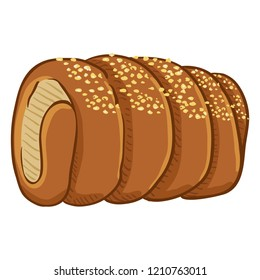 Vector Cartoon Traditional Czech Snack - Trdelnik with Sugar Crumb. Trdlo Illustration.