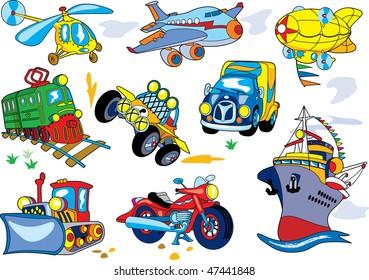 Vector cartoon transport set