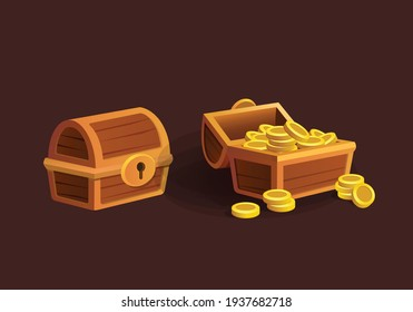 vector cartoon treasure chest with golden coins, open and closed antique box