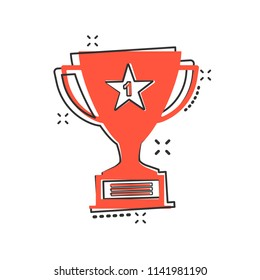 Vector cartoon trophy cup icon in comic style. Winner sign illustration pictogram. Award prize business splash effect concept.