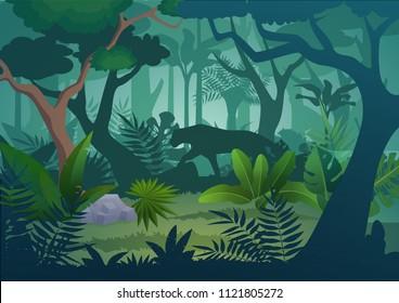 Vector cartoon tropical jungle rainforest background with walking jaguar tiger.
