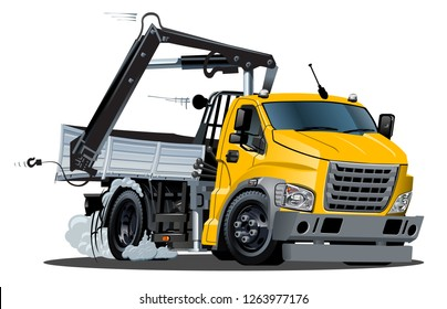 Vector Cartoon Truck with Crane. Available eps-10 vector format separated by groups and layers for easy edit