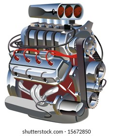 Vector cartoon turbo engine.
