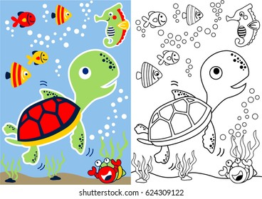 vector cartoon of turtle and friends underwater, coloring book