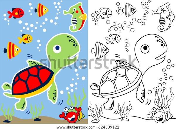 Kaplumbaga Ve Arkadaslar Sualti Vektor Karikatur Stok Vektor