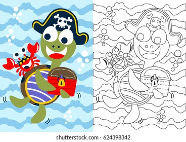 vector cartoon of turtle the pirate with crab his crew, coloring book or page