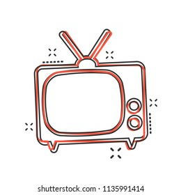 Vector cartoon Tv icon in comic style. Television sign illustration pictogram. Tv business splash effect concept.