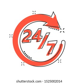 Vector cartoon twenty four hour clock icon in comic style. 24/7 service time concept illustration pictogram. Around the clock business splash effect concept.