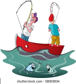 Vector cartoon of two tangled up fishermen.