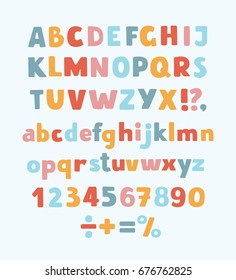 Vector cartoon typeface, multicolored kids vector ABC, letters, numbers and symbols. Uppercase and lowercase cute childish signs
