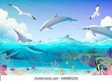 vector cartoon underwater sea, dolphins nautical clipart