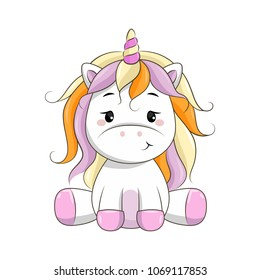Vector cartoon unicorn. Clipart isolated on white background.