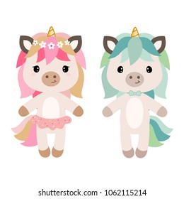 Vector cartoon unicorn girl and boy. Clipart isolated on white background.