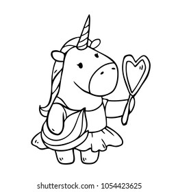 Vector cartoon unicorn girl in  dress with mirror in her hands. Isolated on background