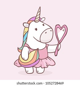 Vector cartoon unicorn girl in pink dress with mirror in her hands. Isolated on background