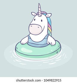 Vector cartoon unicorn swimming  in inflatable ring isolated on background