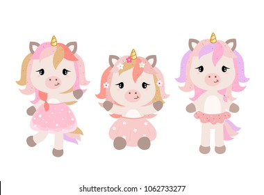 Vector cartoon unicorns in pastel colors. Clipart isolated on white background.