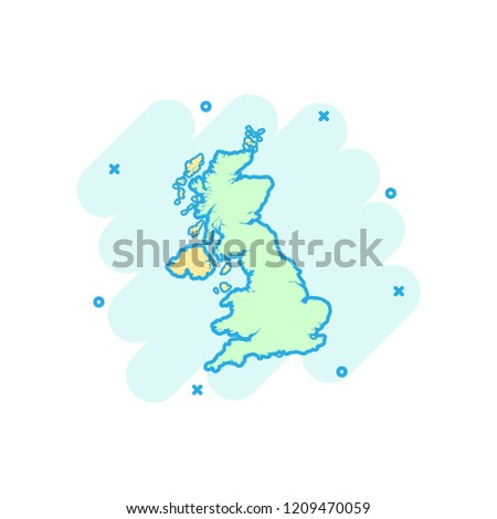 Vector Cartoon United Kingdom Map Icon Stock Vector Royalty Free