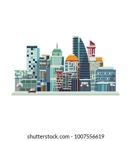 Vector cartoon urban landscape background design template. Illustration building modern skyscaper business office apartment, construction architecture, residental cottage ,car and trees isolated