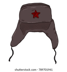 Vector Cartoon USSR Winter Military Hat with Star Badge. Ear Flap Headwear.