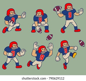 Vector cartoon vintage character collection of American football player