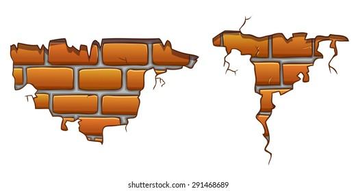 Vector cartoon wall crack with orange bricks