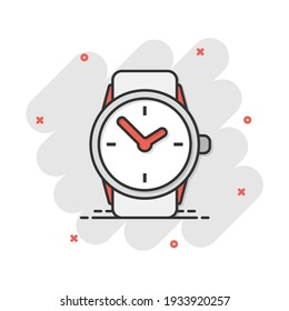 Vector cartoon watch icon in comic style. Clock sign illustration pictogram. Timer business splash effect concept.