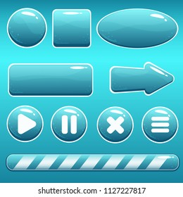 Vector cartoon water buttons with bubbles in blue color; button templates and loading bar. Game asset with isolated elements, perfect for gui or app design concepts