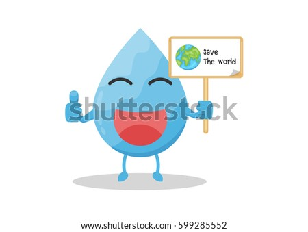 Vector Cartoon Water Drop Hold Wood Stock Vector Royalty Free