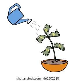 vector cartoon watering money isolated
