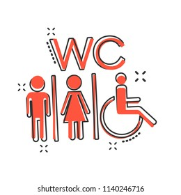 Vector cartoon WC, toilet icon in comic style. Men and women restroom sign illustration pictogram. WC business splash effect concept.