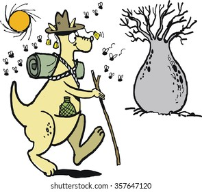 Vector cartoon of well equipped kangaroo hiking in Australian outback with blowflies.