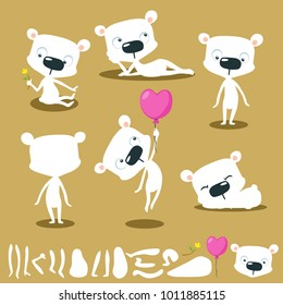 Vector cartoon white bear character for animation - flat design