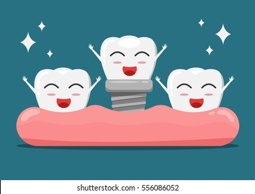 Vector cartoon white teeth happy with gum and denture.