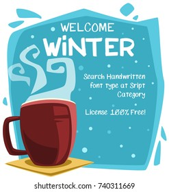 vector cartoon winter lovely relax background banner template with hot chocolate mug fume illustration
