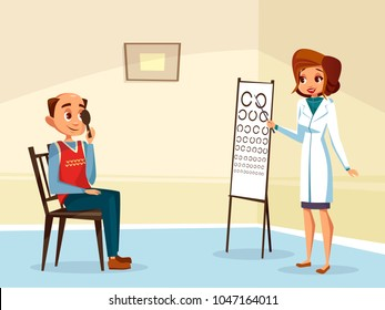 Vector cartoon woman doctor ophtalmologist doing eyesight test to adult man patient. Female optometristh caracter in medical uniform, vision examination consultation. Eye healthcare concept