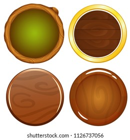 Vector cartoon wooden game round icons with leaves ornament. The asset for gui development elements. Buttons for app