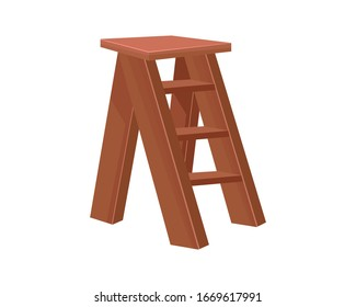 Vector Cartoon wooden ladder with standing platform stool. Isolated object on white background