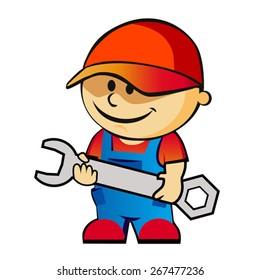 vector cartoon worker with screwdriver