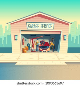 Vector cartoon workshop with mechanic crew installing engine. Repairing car, fixing vehicle in garage. Storeroom with tools, parts and details. Automobile service near with the road, urban business