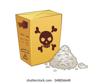 Vector cartoon yellow poison box with powder isolated on white. Open poison packege with skull and bones