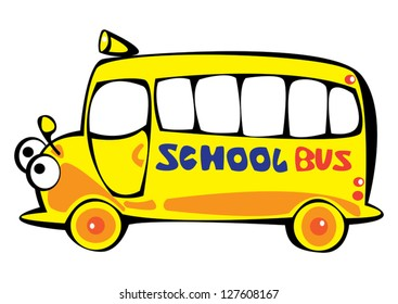 vector cartoon yellow school bus isolated on white background