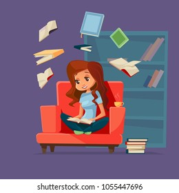 Vector cartoon young brunette girl reader, woman student character sitting at armchair reading textbook with books flying around. Cozy home background bookshelf. Education, learning concept
