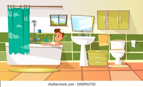 Vector cartoon young man having bath in bathtub. Illustration with male character relaxing in bubble shampoo soap washing, taking shower. Body care, hygiene, healthy lifestyle concept