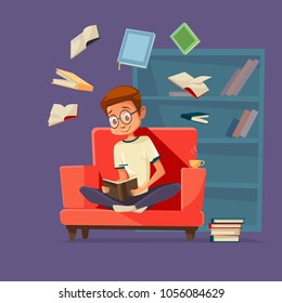 Vector cartoon young man reader, male student character sitting in glasses at armchair reading textbook with books flying around. Cozy home background bookshelf. Education, learning concept