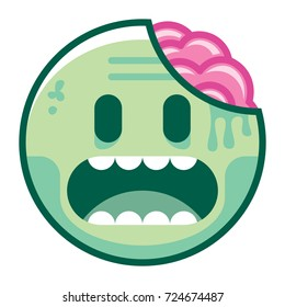 Vector Cartoon Zombie Emoji Isolated On White Background