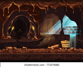 Vector cartoon/illustration of a magical waterfall in a grotto. Background image to create original video or web games graphic design screen savers.